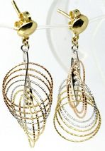 18K YELLOW WHITE ROSE GOLD PENDANT EARRINGS MULTIPLE WORKED CIRCLES SPIRAL 4cm,  image 3