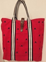 RARE Rugby Ralph Lauren Silver Skull Cross Bones Red Canvas Leather Tote... - $121.54
