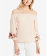 JESSICA SIMPSON Pink 3/4 Sleeve Arlene Embroidered Off-The Shoulder Blou... - $6.05