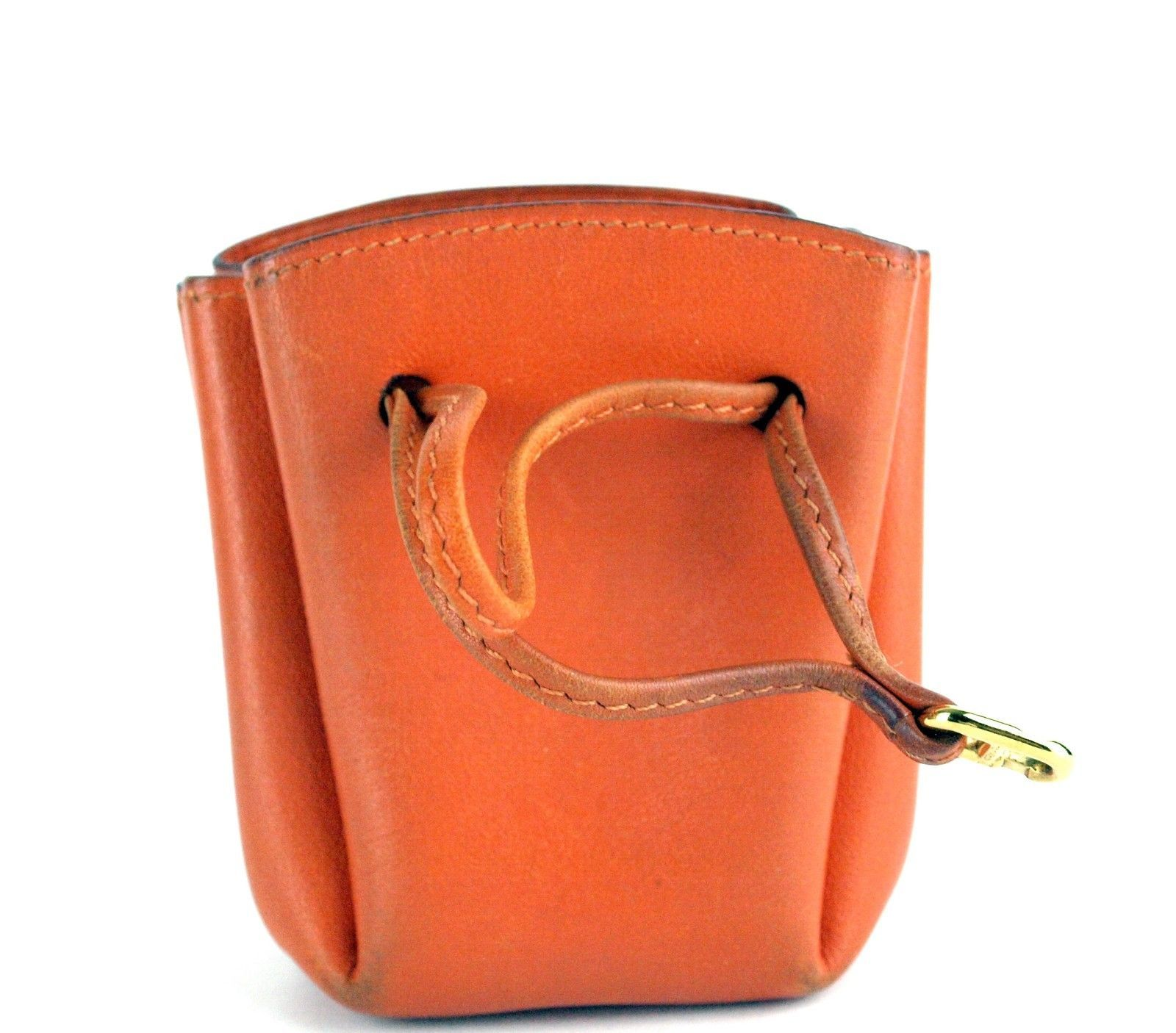 Authentic HERMES Paris Orange Leather Tiny Cosmetic Pouch Wristlet Purse France