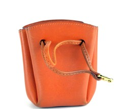 Authentic HERMES Paris Orange Leather Tiny Cosmetic Pouch Wristlet Purse... - $246.51
