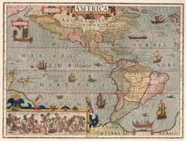 1623 Map of North and South America Mercator Hondius Wall Art Poster Print Decor - $13.00+