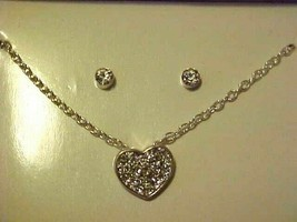 Crystal Rhinestone Necklace & Pierced Earring Boxed Set Heart Pendant  - $8.86