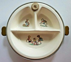Baby Dish Bowl Vintage Majestic Food Warmer See Saw Rabbit Lamb Bakelite... - $29.99