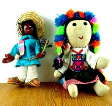 Mexican Folk Art Dolls Whimsical Pair Man with Sombrero & Woman w Dress  - $49.99