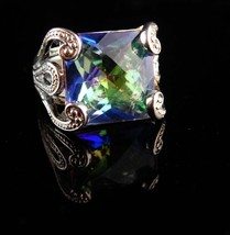 HUGE Setting Sterling statement ring - Mermaid colors - blue green facet... - $145.00