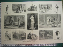 1883 GRAPHIC PRINT ~ LONDON THEATRES PLAYS LYCEUM GAIETY THE GLOBE SAVOY - $63.18