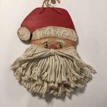 Handmade Santa Claus Primitive Rustic Wall Door Hanging  Wood Mop Beard - $18.89