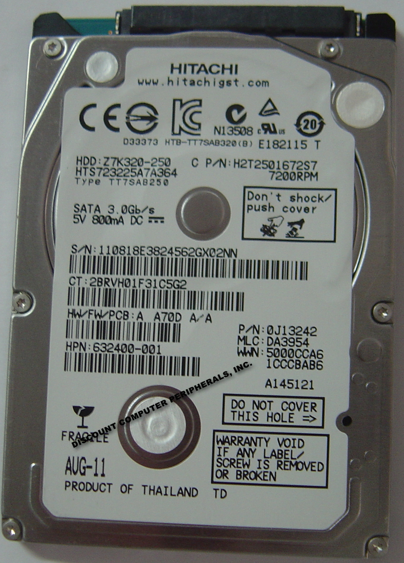 "HITACHI HTS723225A7A364 250GB 2.5"" 3Gbps SATA 7200 RPM 7MM Hard Drive"