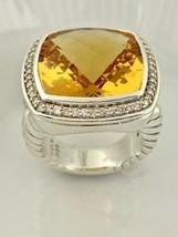 David Yurman 17mm Albion Gelbe Zitrin & Diamant Ring in St.Silber Größe 7 - $830.42