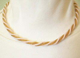 TRIFARI Pale PINK Bead WRAP MESH Gold Plate Choker Necklace Vintge Pearl... - $22.76