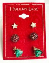 Holiday Lane Gold-Tone 3-Pc Set Crystal Star Ball & Christmas Tree Stud Earrings