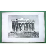 GREECE Athens Acropolis Parthenon 100 years ago - SUPERB Antique Print E... - $43.88