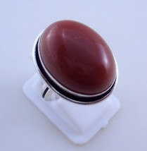 Ring Size 7 Red Onyx Silver Overlay Handmade Ring Jewelry 8 Gr. Oj-337-8 - $2.49