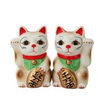 Japanese Maneki Neko - Magnetized Ceramic Salt & Pepper Shakers - £10.04 GBP