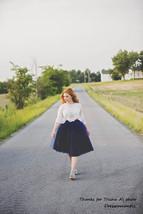 Women's Navy Tutu Skirt High Waist Navy Tulle Midi Tulle Skirt Party Prom Skirt  image 4