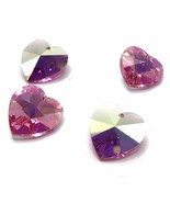 4 pcs Swarovski 6202 Crystal Heart Pendant 14mm pink ROSE AB *Clearance ... - $6.08