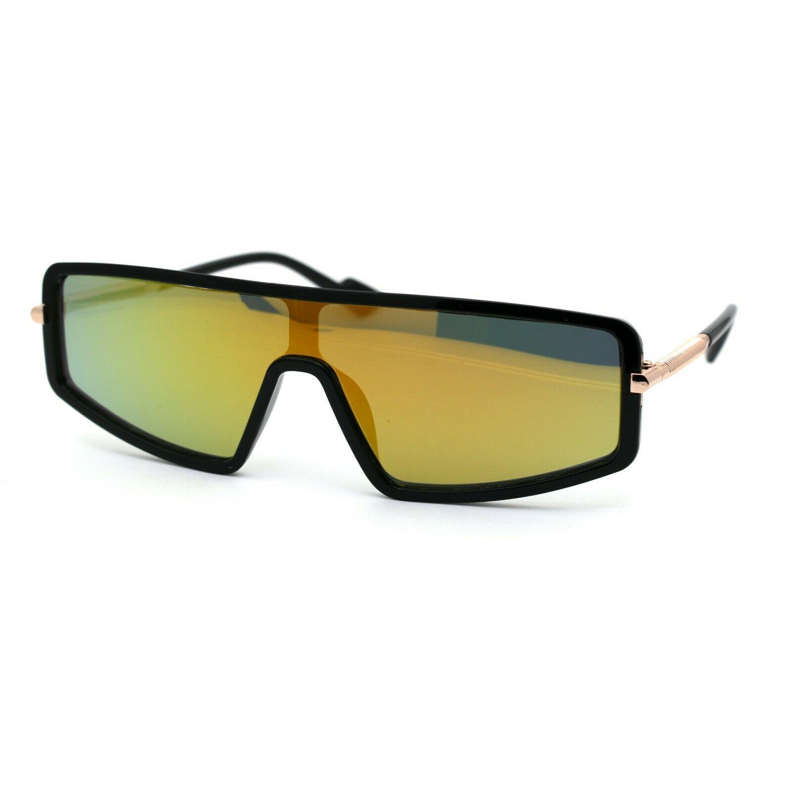 Luxury Shield Narrow Designer Plastic Robotic Sunglasses