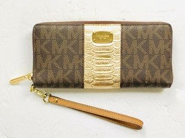 MICHAEL KORS Jet Set Zip Around Checkbook Wallet Brown Signature Gold Tr... - $59.14