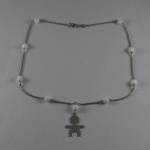 .925 SILVER RHODIUM NECKLACE WITH WHITE AGATE AND LITTLE BOY WITH 3 CRYSTALS image 2