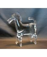 Hand Blown Rainbow Glass Horse - Huntington West Va. Clear Glass - $40.00