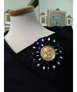 VINTAGE GOLDEN PIN BROOCH FAUX ROMAN GOLD COIN PLEATED NAVY WHITE DOT BUNTING - $45.00