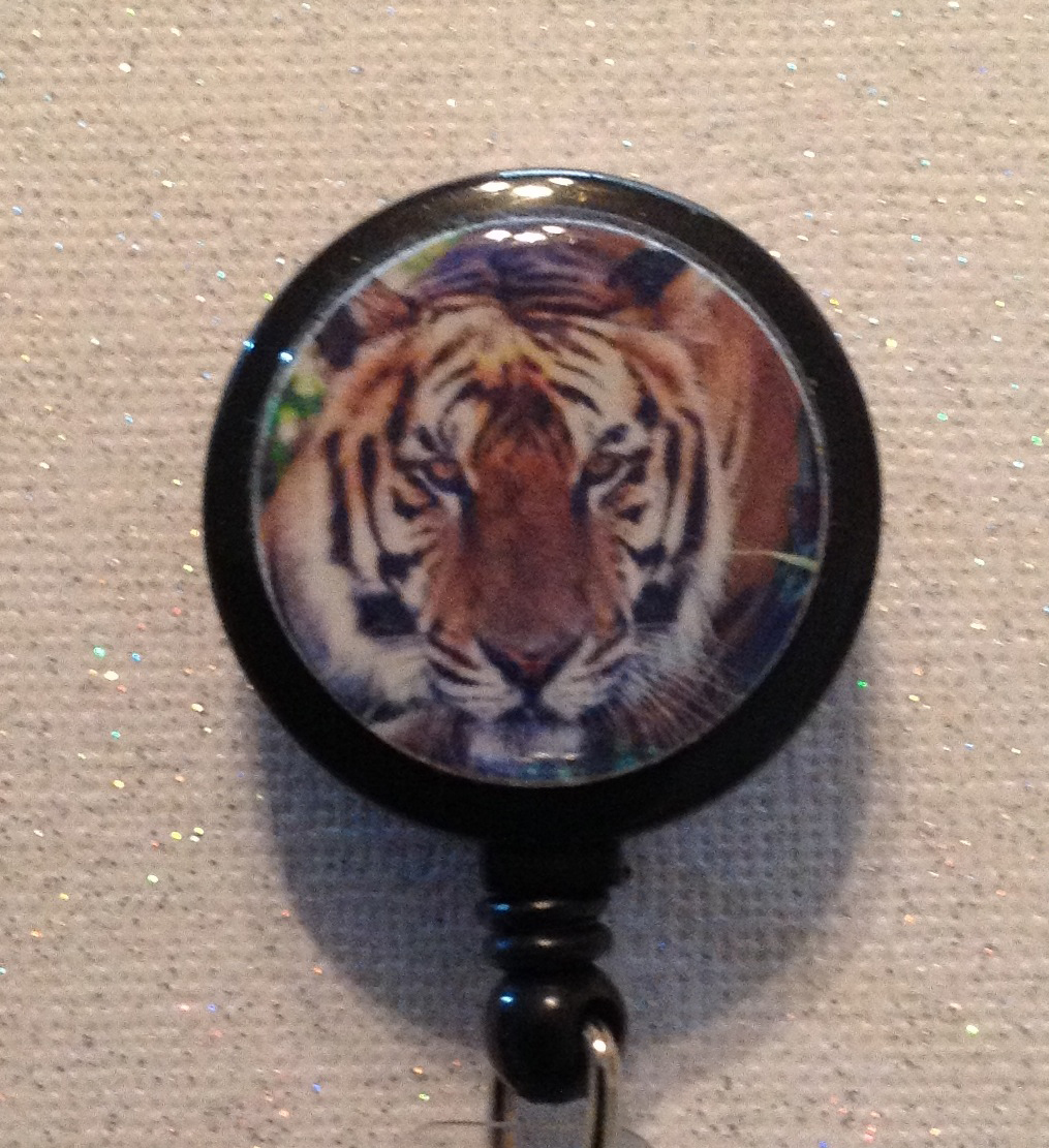 Primary image for Tiger Brown Badge Reel Id Holder brown black alligator clip handmade new