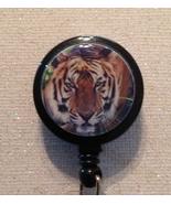 Tiger Brown Badge Reel Id Holder brown black alligator clip handmade new - $8.99