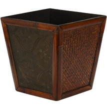 Bamboo Square Decorative Planters (Set of 4), Nearly Natural image 4