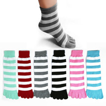 6 Pairs Toe Socks Soft Striped Ladies Women Girls Size 9-11 Fun Color Style - $8.99