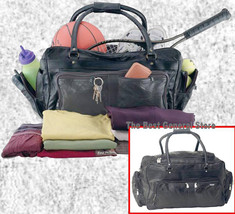 """23"""" Black Leather Tote Travel Bag Duffle GYM Large NEW - $35.99"""