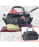 "23"" Black Leather Tote Travel Bag Duffle GYM Large NEW - $35.99"
