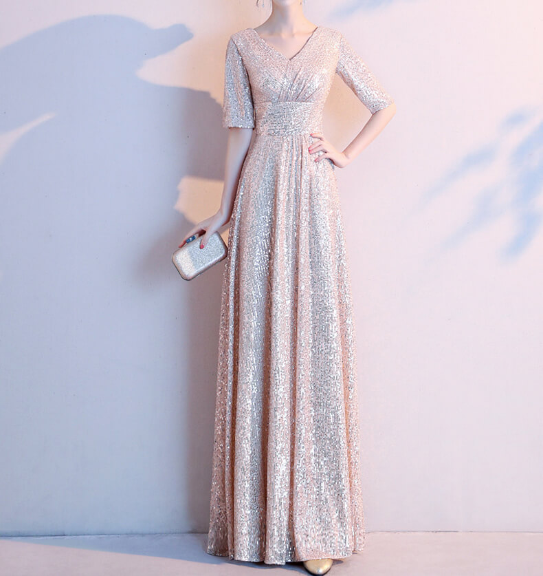Women Maxi Sequin Dress Sleeved High Waist Sequin Maxi Formal Dress, Pink Sequin