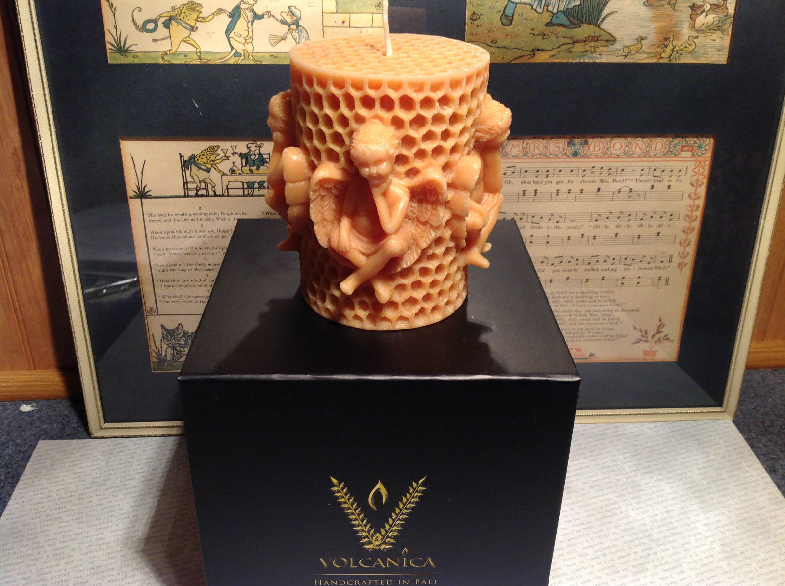 Honeycomb Cherub Volcanica Candle Hand made Bali Made with Beeswax and Palm Wax