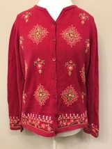 Talbots Women's LARGE Cardigan Sweater Pink Floral Embroidered Cotton - $24.74
