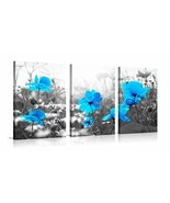 Flower Wall Art Blue Garden with Wildflowers Relaxing Artworks for Livin... - $82.80