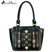 Montana West Western Cut-out Embroidered Arrow Collection Trapezoid Tote Handbag - $61.99