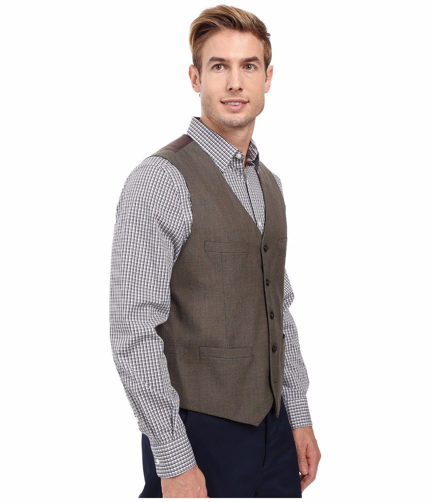 Perry Ellis - Regular Fit Pattern Twill Suit Vest (Chinchilla) Men's Vest $70 image 4