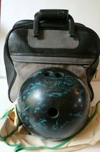 Vintage Satellite Ebonite 15 lb 4 oz Bowling Ball Black Green w/ Brunswi... - $91.90