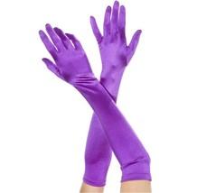 ML-452 Sexy Purple Satin Extra Long Opera Prom Evening Burlesque Gloves - $12.95