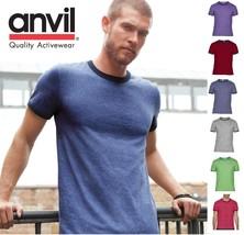 Anvil Men's Cotton Lightweight Ringer T-shirt Tee Tshirt 988 988AN-8 COLORS-NEW! - $5.93+