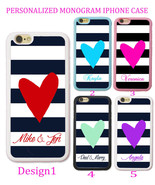 Personalized BLACK NAVY STRIPE RED PURPLE HEART Case For iPhone X 8 7 6S... - $11.99+
