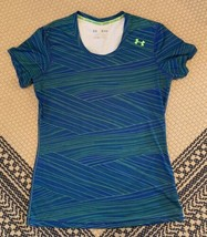 Women's Under Armour Fitted Shirt Size Medium Blue And Green  - $12.19