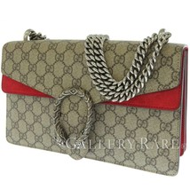 GUCCI Dionysus Small GG Supreme Suede Beige Red 400249 Shoulder Bag Auth... - $1,684.45