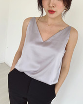 Silver Blue White Sleeveless Chiffon Tank V-Neck Sleeveless Chiffon Casual Tops image 3