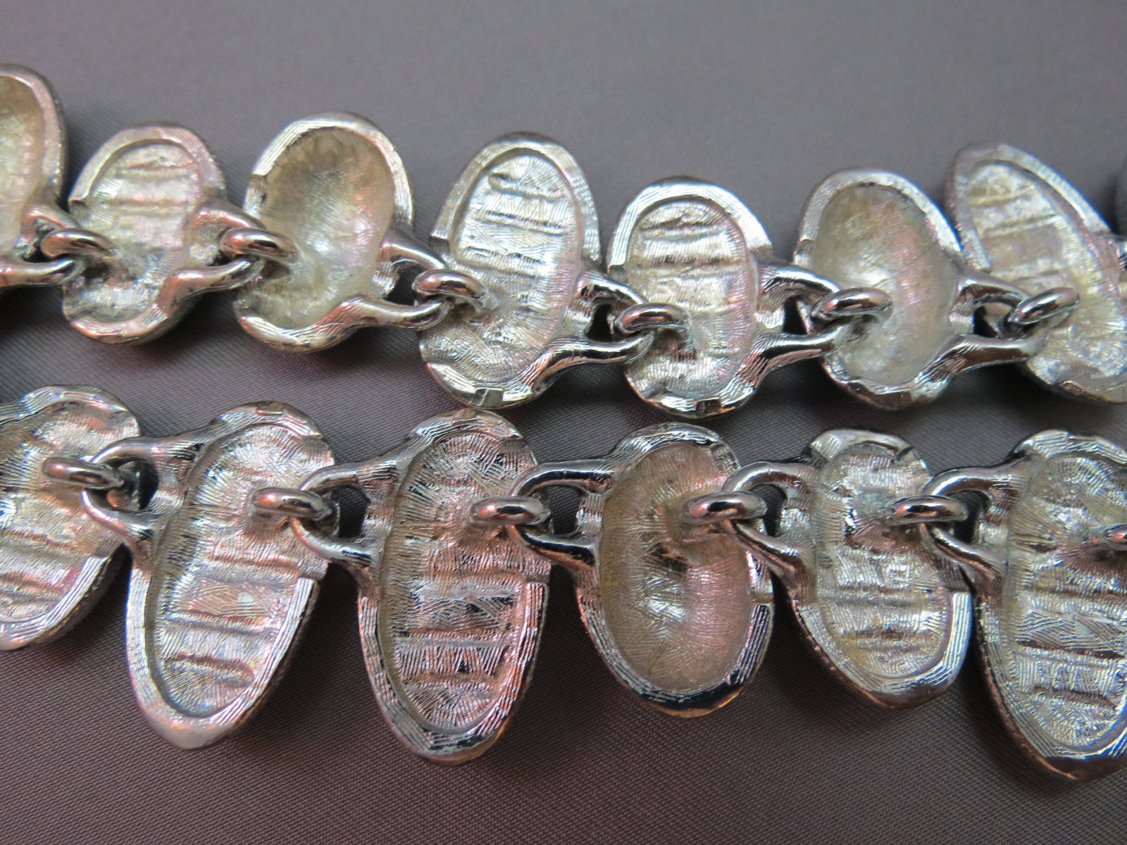 """Anne Klein Couture Silver Necklace Striped Stone Wide Collar 18"""" Chunky VTG Lion image 8"""