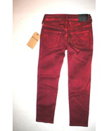 New Girls NWT True Religion Brand Jeans 6 Casey Red Skinny Metallic Flam... - $65.52