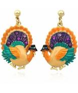 cocojewelry Turkey Dangle Charm Post Stud Earrings Thanksgiving Jewelry - $41.64