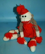 "Handmade Sock Monkey 16"" Girl Red Skirt Pom Poms Soft Toy Plush Cloth St... - $19.34"