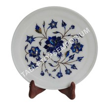 """8"""" Marble Top Decorative Plate Lapis Inlay Floral Precious Columbus Gift... - $160.00"""